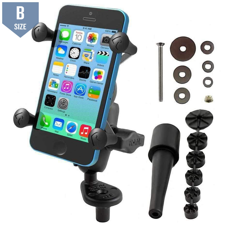 RAM Fork Stem Mount w X-Grip Phone Cradle (RAM-B-176-A-UN7U)-Modest Mounts