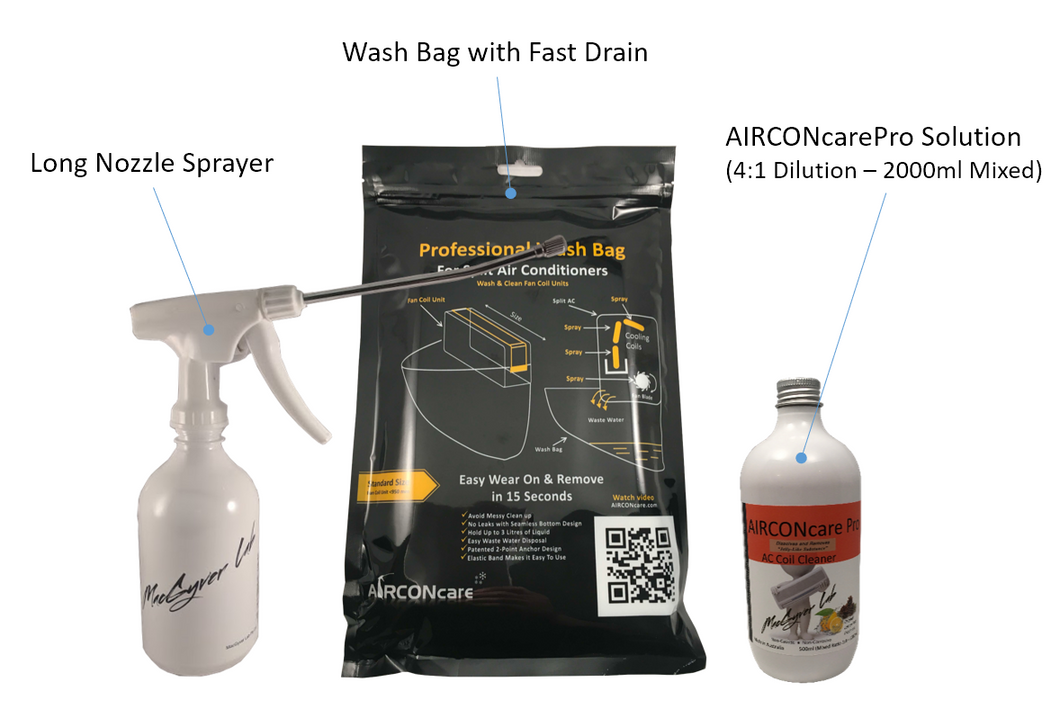 AIRCONcare Pro Air Conditioner Cleaning Kit for Split Ductless AC with Cleaning Wash Bag