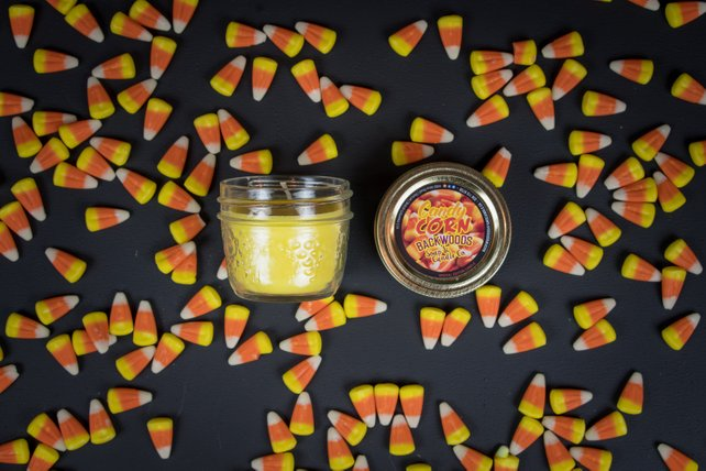 Candy corn mini mason