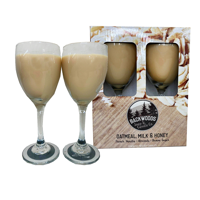 Oatmeal milk and honey wine glass set