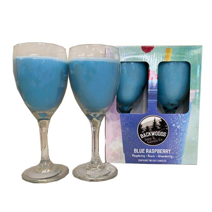 Blue Raspberry Wine Glass Set