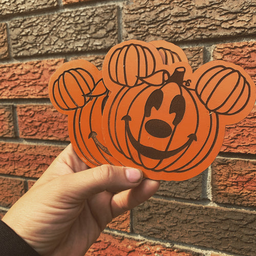 4 pack Mickey Mouse pumpkin coaster