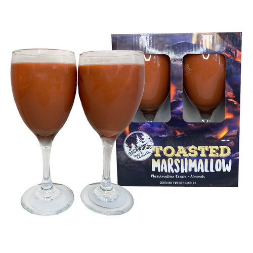 Toasted marshmallow wine glass candles