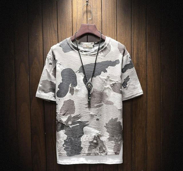 Zeke - Camouflage Distressed Double Tee