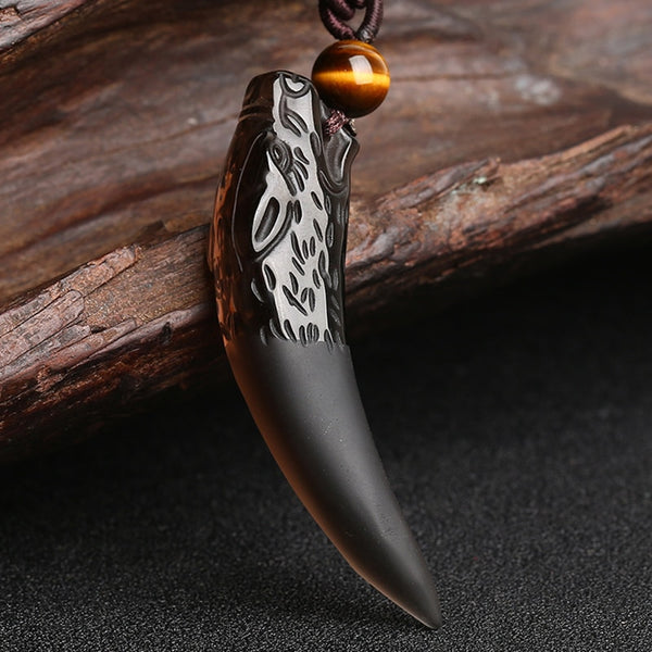Canis - Obsidian Wolf Tooth Natural Stone Necklace