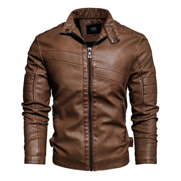 Kevin - Vintage Stand Collar Leather Jacket