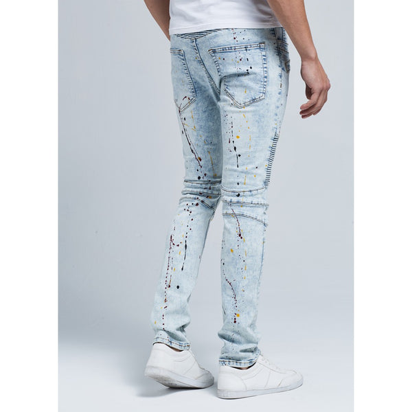 Zander - Skinny Leg Biker Stretch Denim Jeans