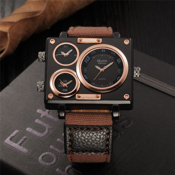 Leo - Triple Time Zone Square Luxury Watch