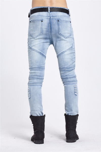 Steel - Distressed Denim Skinny Leg Jeans