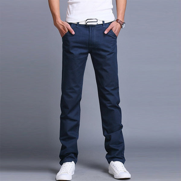 Grey - Slim Fit Cotton Trousers