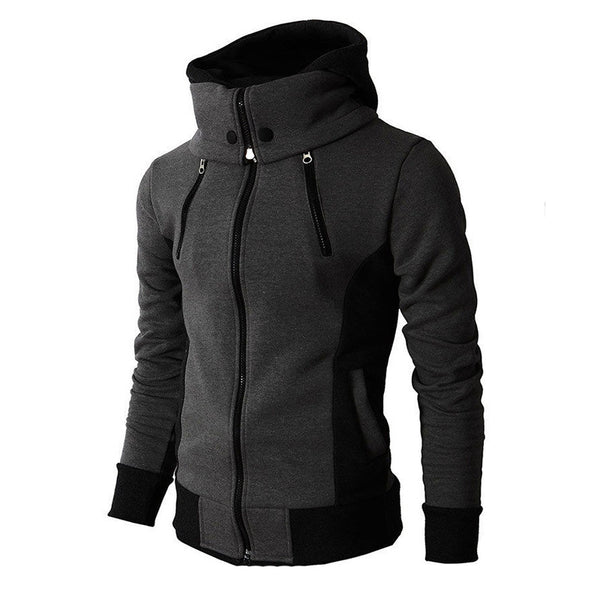 Fleece Zip Up High Collar Hooded Jacket