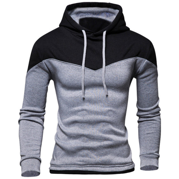 Solid Color Patchwork Hoodie