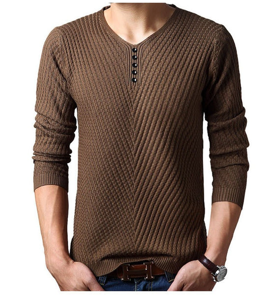 V-Neck Knitted Pullover Sweater