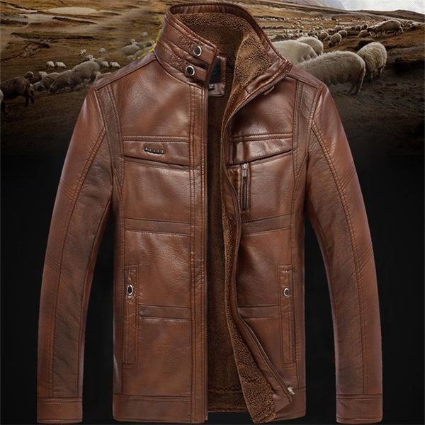 Alton - Casual Fleece Leather Jacket