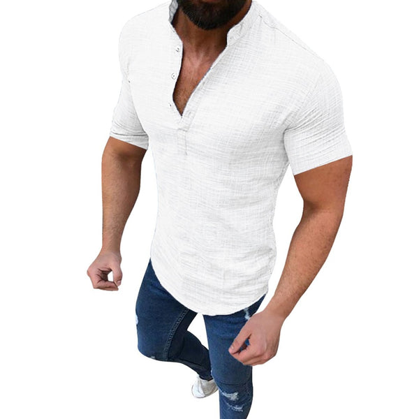Spencer - Linen Short Collared T-Shirt