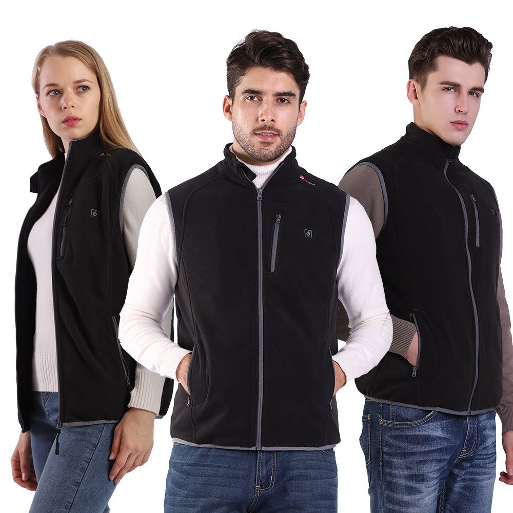 PROSmart Heated Vest Polar Fleece Lightweight Waistcoat with USB Battery Pack(Unisex,Black)