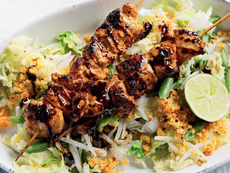 Indonesian Chicken Skewers and Spicy Coconut Salad