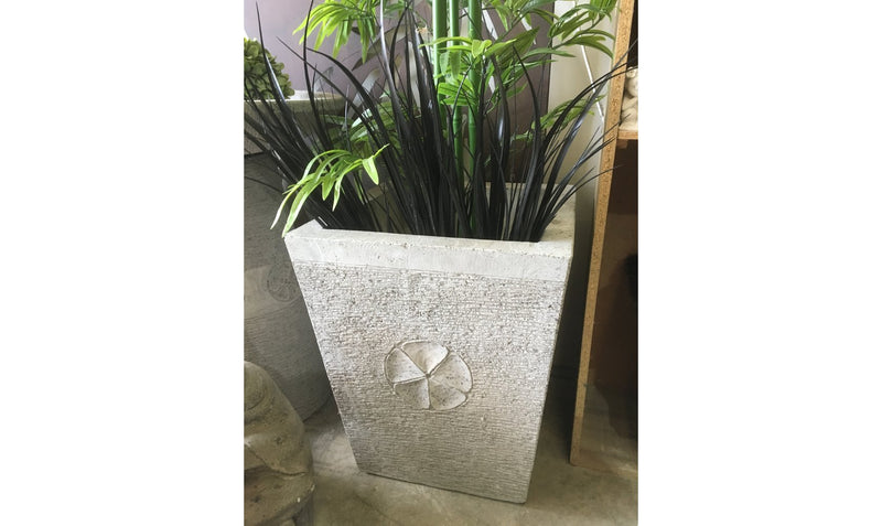 Balinese Square Concrete Garden Pot with Frangipani Motifs