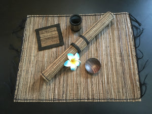 Balinese Lidi Stick Placemat set with Wooden Spice Bowls and Coasters 4pk
