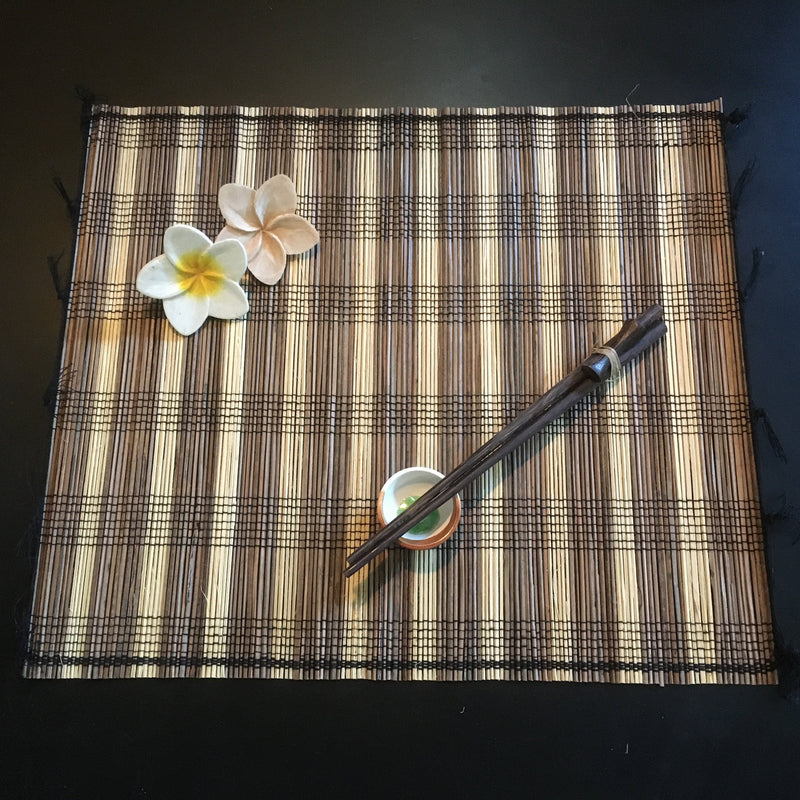 Balinese Lidi stick Placemats, Ceramic Spice Bowls and Chopsticks 6pk