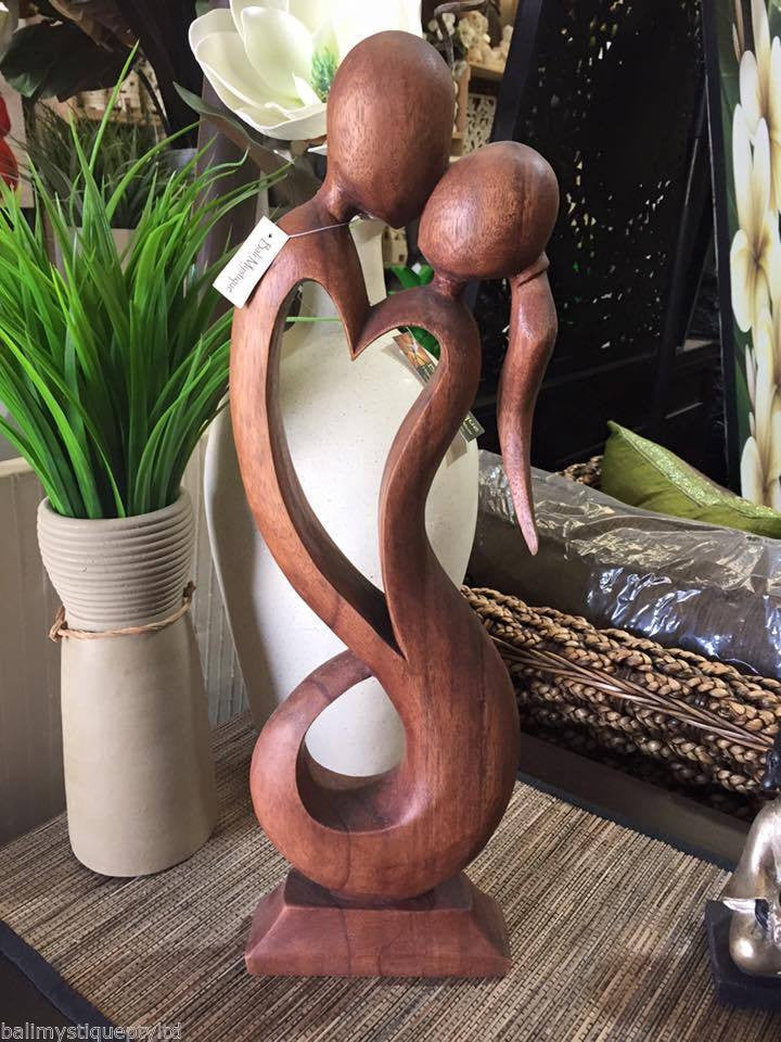 Balinese Abstract Wood Carving Couple Love Heart Sculpture