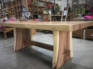 """Belair"" Raw Edge Solid Timber Dining Table #10041"
