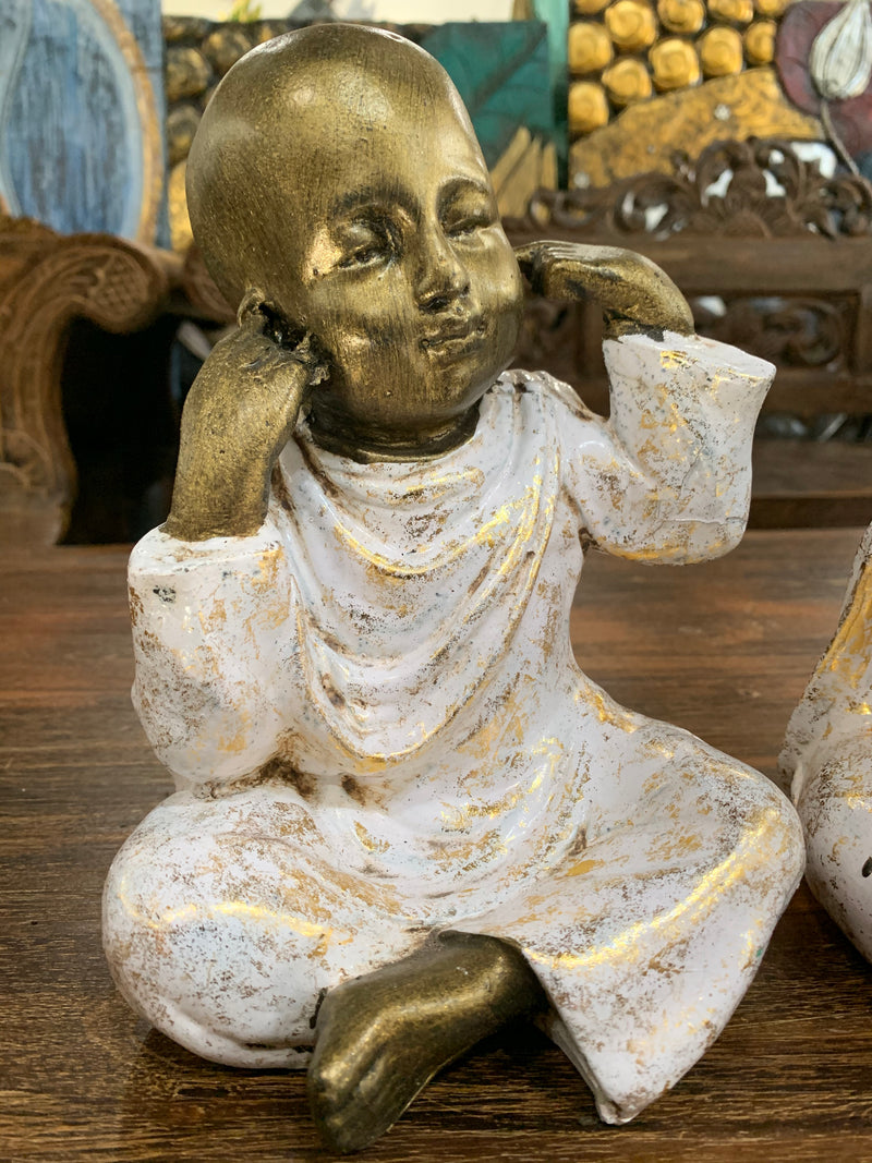 Set of 3 Hear/Speak No Evil Resin Baby Buddha Monk Statues