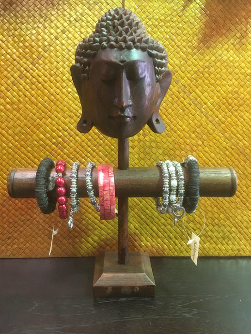Balinese Brown Timber Buddha Mask Bracelet Jewellery Display Stand