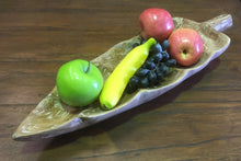 Hand Carved Timber Leaf Serving Tray