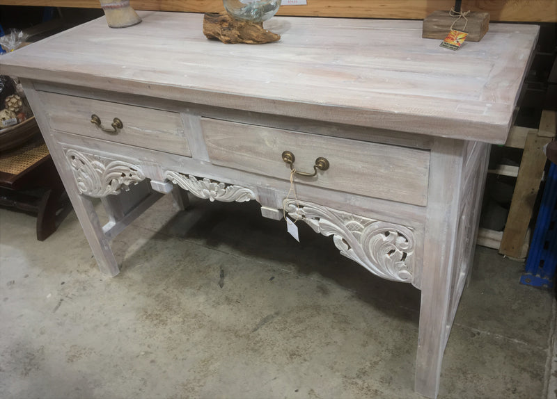 Balinese Hand Carved Recycled Teak Console Table