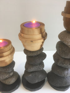 Set of 3 River Stone Candle Holders #10072