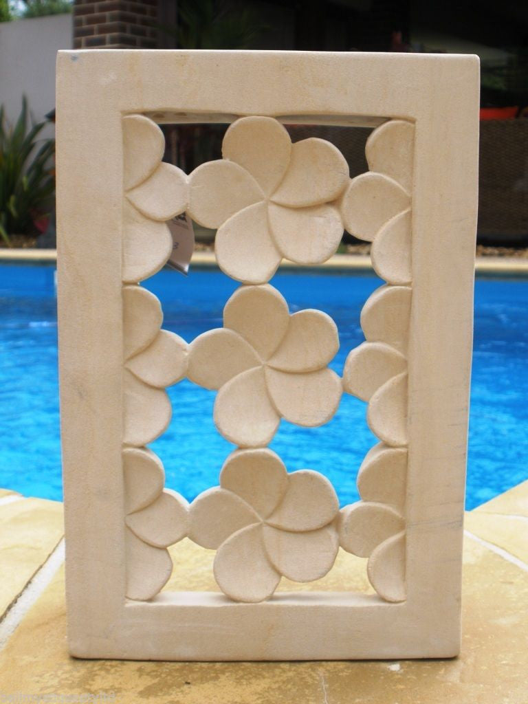 Balinese Hand Carved Limestone Wall Lamp Holder Cover
