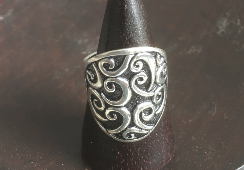 Silver/Black Wave Ring