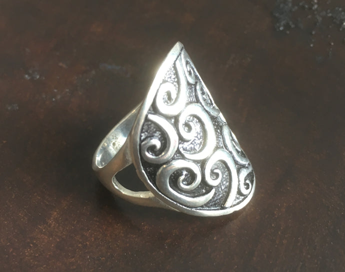 Silver/Black Wave Ring #10113