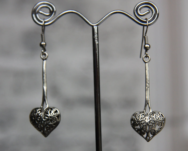 Cast Silver Plated Heart earrings