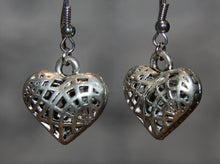 Silver Plated Cage Heart Earrings