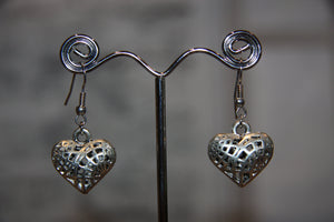 Silver Plated Cage Heart Earrings 10115