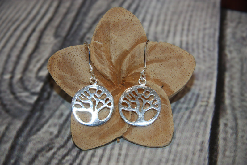 Silver Plated Tree of Life Earrings 2cm