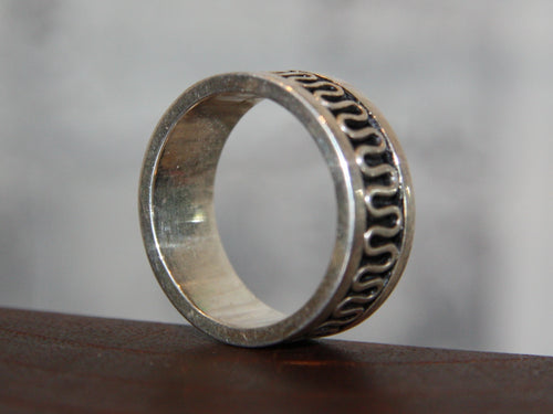 Mens 925 Silver Plated Surf Ring 10122