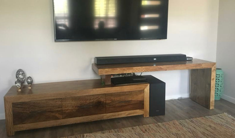 Fruitwood L Shape Low Line TV Cabinet with 3 Drawers