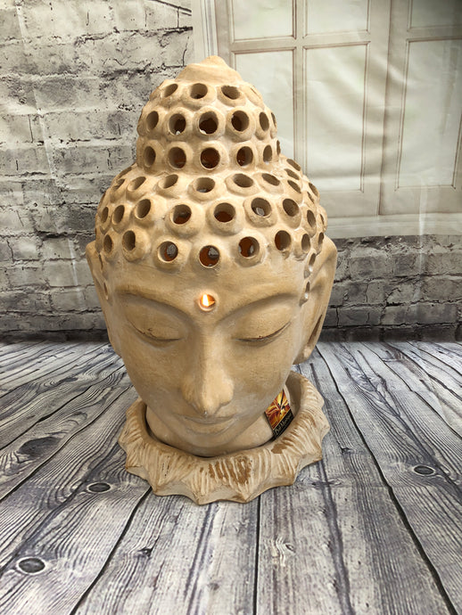 Terracotta Buddha Head Candle Holder