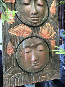 Three Face Buddha Plaque