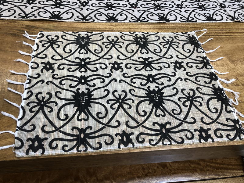 Mendong Fibre Table Runners and Placemat with Brown Print