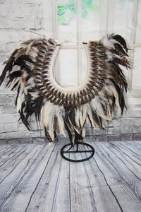JuJu Bamileke Tribal Necklace Feather and Shell