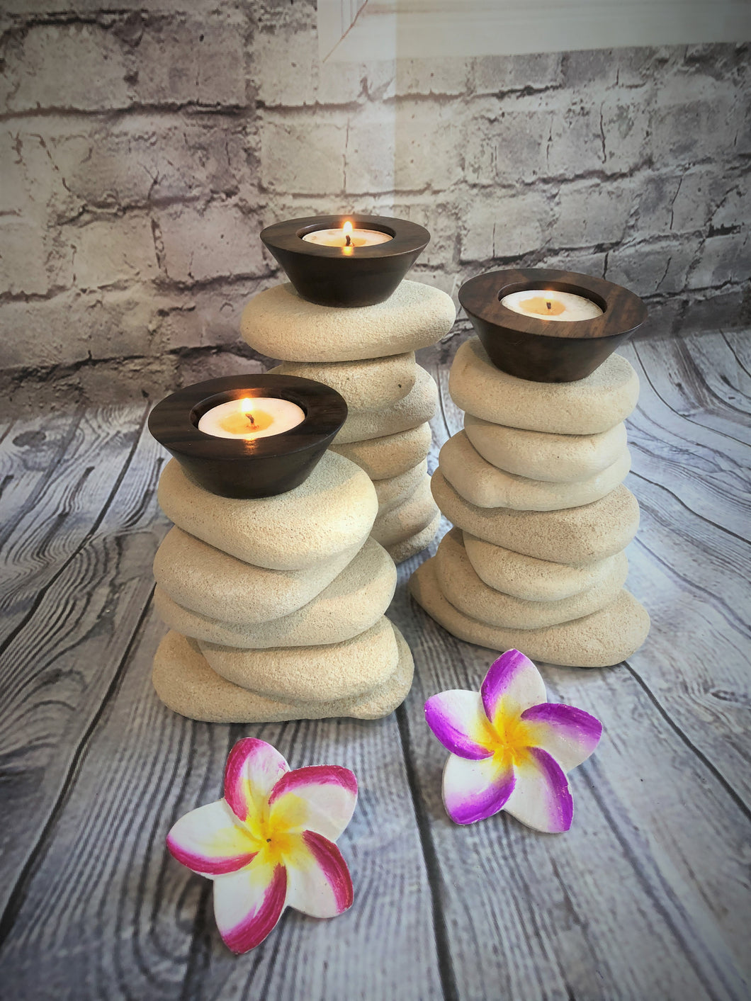 Set of Three Limestone Candle Holders 10179