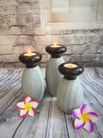 Set of Three Greystone Candle Holders