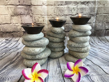 Pebble Stone Candle Holders set of Three 10187