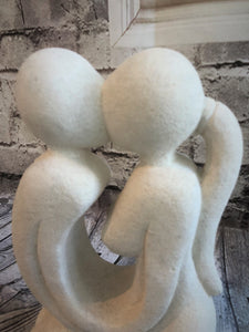 Limestone Kissing Couple Statue