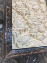 Carved Limestone Tile in wooden Frame 10191
