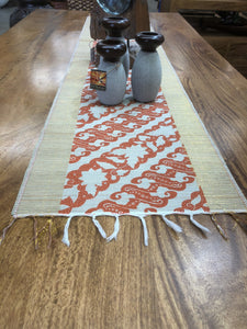 Bamboo Stick Table Runner with Red/Gold Thread  #10194